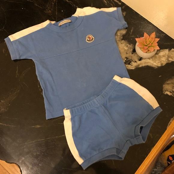 65c6b0065 Moncler Boys Infant Outfit Shirt Shorts Blue 9-12M